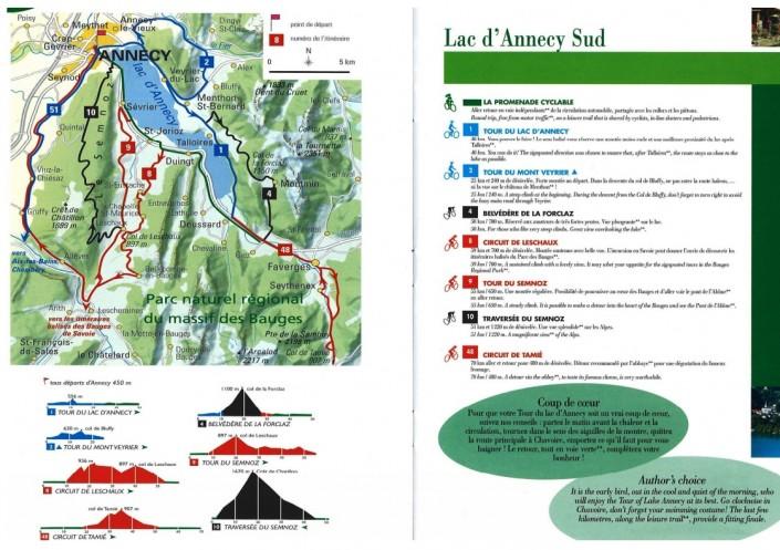 Carte des circuits vélo autour du Lac d'Annecy